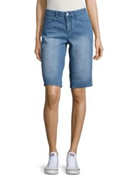 Imnyc Isaac Mizrahi Denim Bermuda Shorts Blue Faded