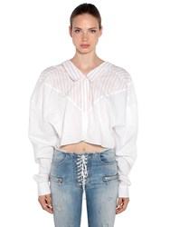 Unravel Oversized Striped Cotton Shirt White Red