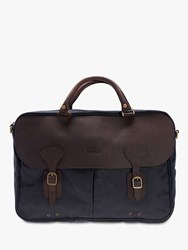 Barbour Waxed Cotton Briefcase Navy