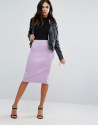 Love Zip Detail Pencil Midi Skirt Lilac Purple