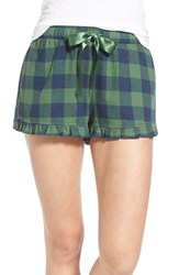 Junior Women's Bp. Undercover Plaid Flannel Sleep Shorts Green Juniper Holly Check