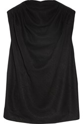 Rick Owens Draped Silk And Wool Blend Blouse Black