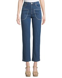 See By Chloe Stitched Straight Leg Ankle Jeans Blue