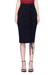 Nicholas Lace Up Cord Textured Skirt Black