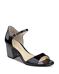 Ivanka Trump Easta Glitter Block Heel Sandals Black