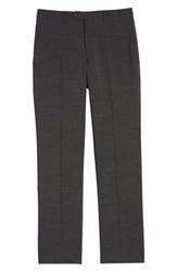 Santorelli Big And Tall Flat Front Solid Wool Trousers Charcoal