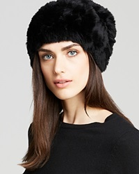 Surell Rabbit Fur Knit Slouchy Hat Black