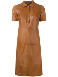 Desa 1972 Leather Shirt Dress Brown