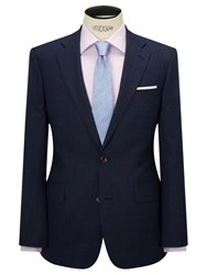 Chester Barrie By Wool Glen Check Tailored Suit Jacket Indigo