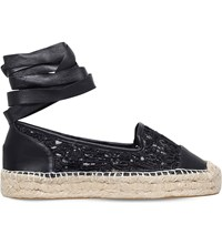 Kg By Kurt Geiger Matilda Leather And Lace Espadrilles Black