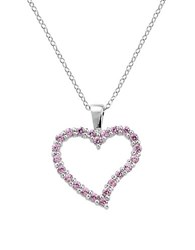 Lord And Taylor Sterling Silver And Cubic Zirconia Heart Pendant Necklace Pink