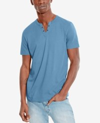Kenneth Cole Reaction Split V Neck Henley Maritime Blue