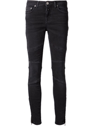 Closed Ribbed Panel Ankle Zip Jeans Black