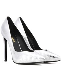 Saint Laurent Metallic Embossed Leather Pumps Silver