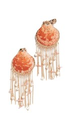 Mercedes Salazar Fringe Shell Earrings Orange