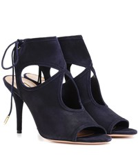 Aquazzura Sexy Thing 85 Suede Sandals Blue