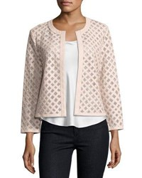 Neiman Marcus Leather Grid Jacket Light Pink Rose Gold