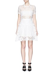 Self Portrait Floral Satin Lace A Line Dress White