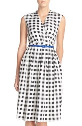 Women's Ellen Tracy Gingham Twill Fit And Flare Dress