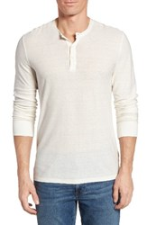 James Perse Men's Cotton And Linen Henley Silver