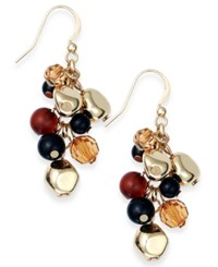 Styleandco. Style And Co. Gold Tone Tortoise Multi Bead Cluster Drop Earrings
