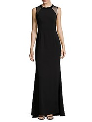 Carmen Marc Valvo Infusion Solid Crepe Halter Gown Black