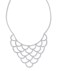 Inc International Concepts Silver Tone Crystal Scalloped Statement Necklace Created For Macy's