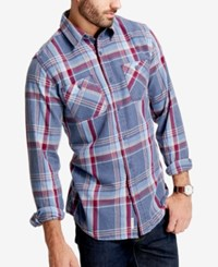Weatherproof Vintage Men's Plaid Flannel Shirt Indigo
