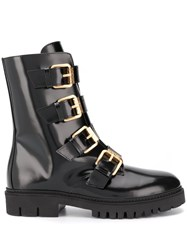 Moschino Buckled Ankle Boots Black