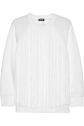 Dkny Fringed French Terry Sweatshirt