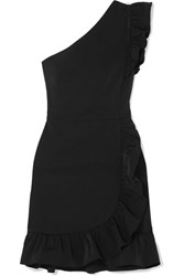 J.Crew Yass One Shoulder Ruffled Twill Mini Dress Black