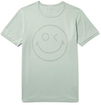 Outerknown Happy Printed Organic Pima Cotton Jersey T Shirt Gray Green