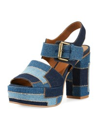 See By Chloe Tara Patchwork Denim Platform Sandal Navy Light Blue Blue Pattern