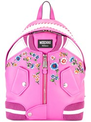 Moschino Bomber Jacket Backpack Pink Purple