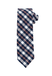 Forever 21 Cotton Plaid Tie Navy Red
