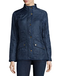 Cavalry Polar Long Sleeve Snap Front Quilted Jacket Dress Blue Barbour