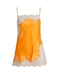 Carine Gilson Lace Trimmed Silk Satin Camisole Orange