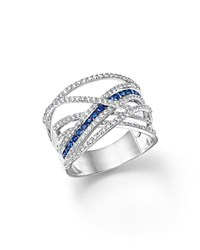Bloomingdale's Diamond And Sapphire Crossover Ring In 14K White Gold
