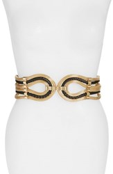 Women's Raina 'Large Spago' Stretch Belt Black Gold