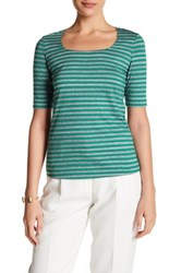 Lafayette 148 New York Square Neck Tee Green