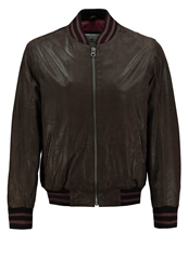 Tom Tailor Leather Jacket Dark Brown