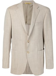 Canali Fitted Blazer Nude And Neutrals