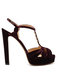 Francesco Russo T Bar Velvet Platform Sandals Burgundy