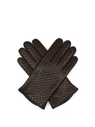 Bottega Veneta Intrecciato Leather Gloves Brown
