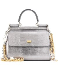 Dolce And Gabbana Sicily Mini Leather Shoulder Bag Silver