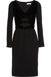 Altuzarra Amindra Cutout Velvet Trimmed Crepe Dress Black