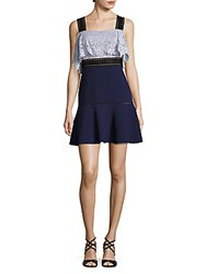Abs By Allen Schwartz Lace And Crepe Fit And Flare Dress Navy