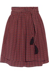Apiece Apart Baja Printed Pleated Silk Crepon Mini Skirt Burgundy