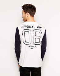 Asos Long Sleeve T Shirt With Baseball Button Through And Back Print Offwhitenavy