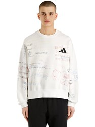 Yeezy Printed And Adidas Logo Cotton Sweatshirt White